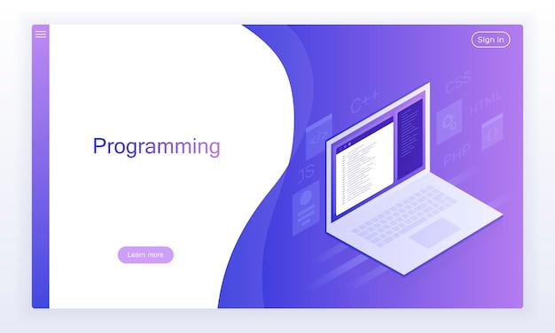 Sviluppo e programmazione software, codice programma su schermo laptop, elaborazione big data.