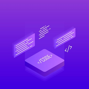 Sviluppo e programmazione software, elaborazione di big data. 3d isometrico piatto. illustrazione moderna
