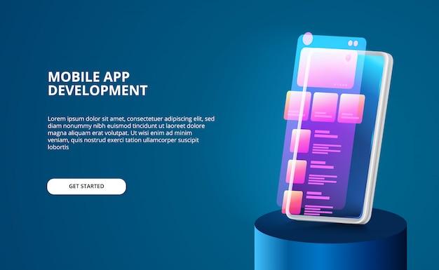 Sviluppo moderno di app mobili con design dell'interfaccia utente con colori sfumati al neon e smartphone 3d con schermo luminoso.