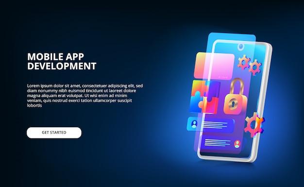Sviluppo moderno di app mobili con design dell'interfaccia utente, lucchetto e sistema di ingranaggi con colori sfumati al neon e smartphone 3d con schermo luminoso.