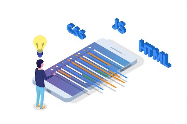 Sviluppo software isometrico, programmatore al lavoro. elaborazione di grandi quantità di dati. illustrazione vettoriale