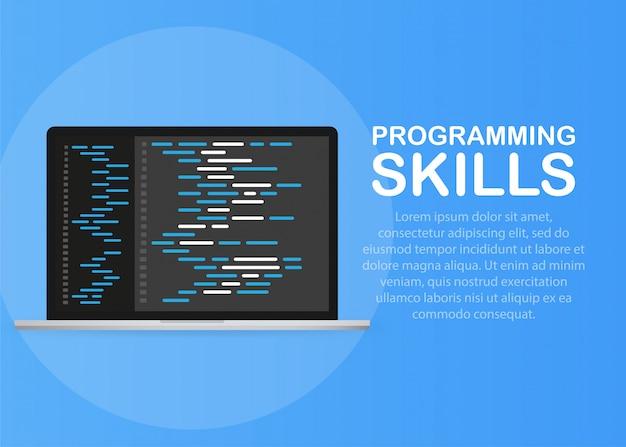 Sviluppo software, programmazione, codifica concetto vettoriale.