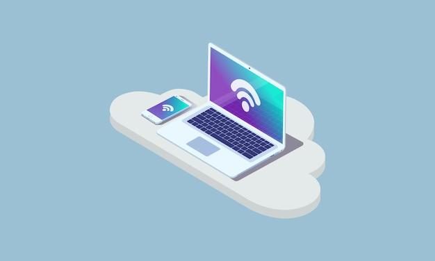 Sviluppo web e codifica. sito web di sviluppo multipiattaforma. pagina internet con layout adattivo o interfaccia web su laptop, tablet e telefono. illustrazione di concetto isometrico.