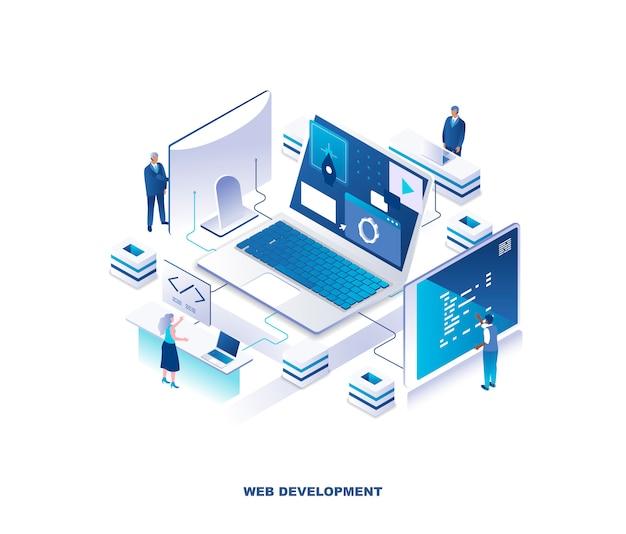 Sviluppo web front-end e back-end, concetto isometrico di codifica