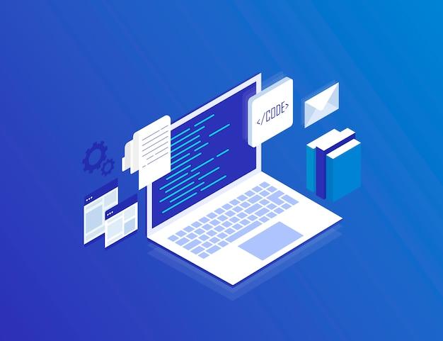Sviluppo web, programmazione e codifica. computer portatile con schermi virtuali su blu. illustrazione isometrica moderna