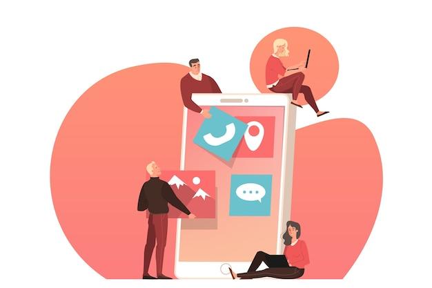 Sviluppo web sullo schermo del dispositivo smartphone. le persone costruiscono un modello di interfaccia. illustrazione