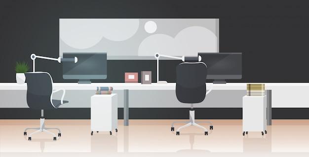 Svuotare persone centro di co-working moderno posto di lavoro open space interno ufficio
