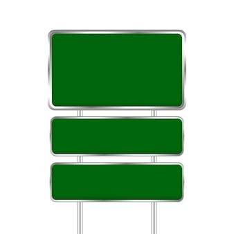 Svuoti il bordo verde del segnale stradale e il metallo del palo isolato su fondo bianco, bordo del segnale stradale