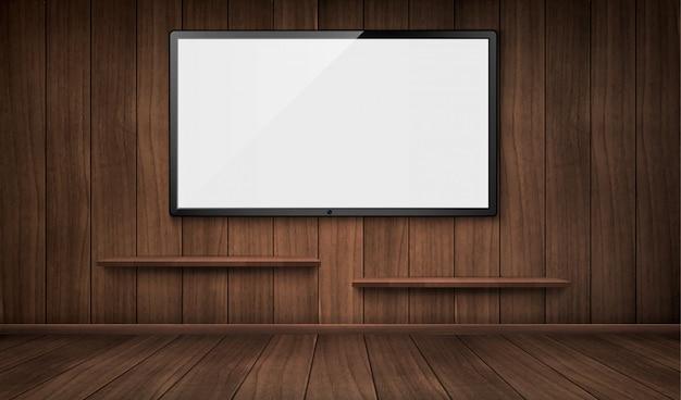 Svuoti la stanza di legno con lo schermo della tv e gli scaffali per libri