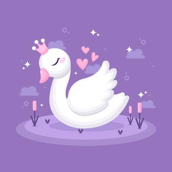 Swan princess arrossisce e nuvole