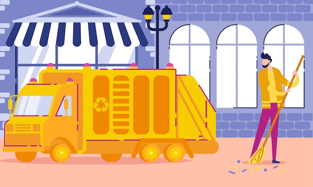 Sweeper at work, public sector worker cartoon.