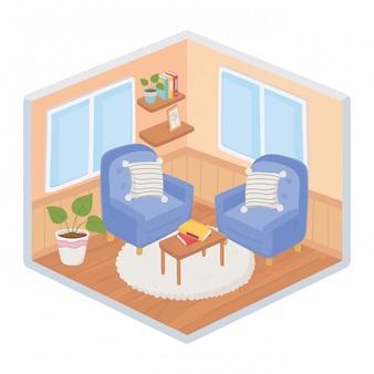 Sweet home divani poltrone cuscini tavolo piante con libri in moquette stile isometrico soggiorno