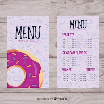 Sweetshop modello di menu