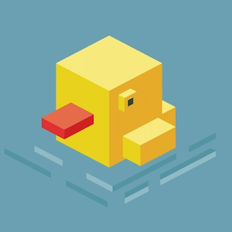 Swimming duck 3d pixelate