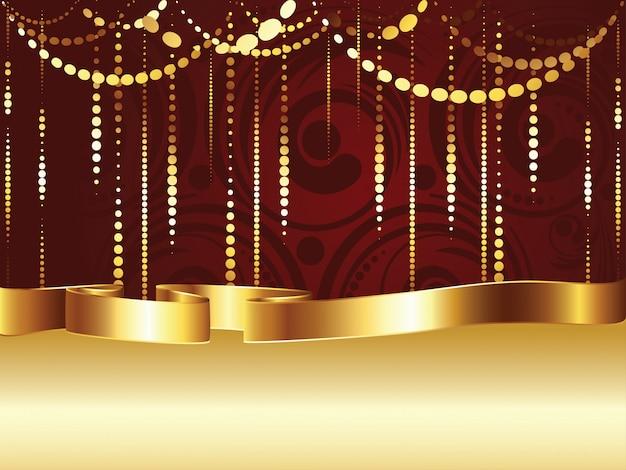 Swirls and gold ribbon