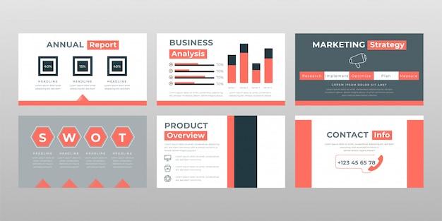 Swot colorato grigio rosso analizzare il modello di pagine di presentazione in power point di concetto