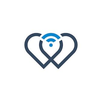 Symboal del cuore con il disegno dell'icona di wifi logo