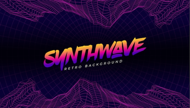Synthwave 3d background landscape stile anni '80