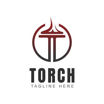 T iniziale per il logo della torcia