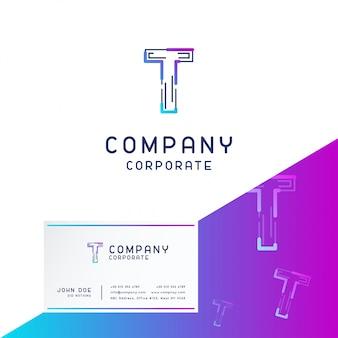 T logo aziendale design con biglietto da visita vettoriale