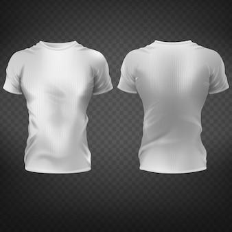 T-shirt bianca vuota con muscolosi torso da uomo, davanti, vista posteriore