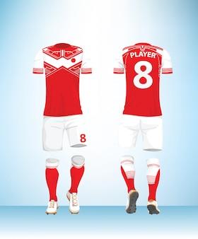 T-shirt calcio calcio maglia rossa mock up
