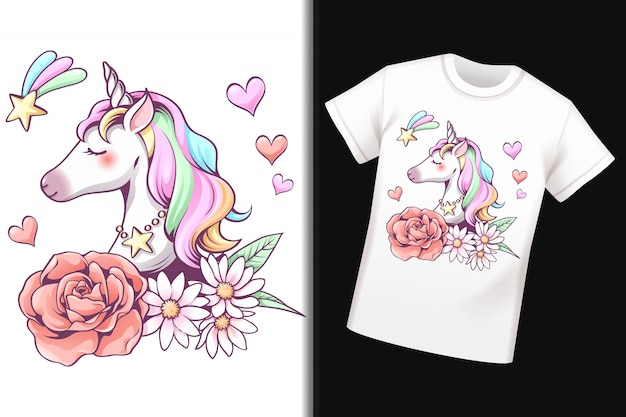 T-shirt con design unicorno