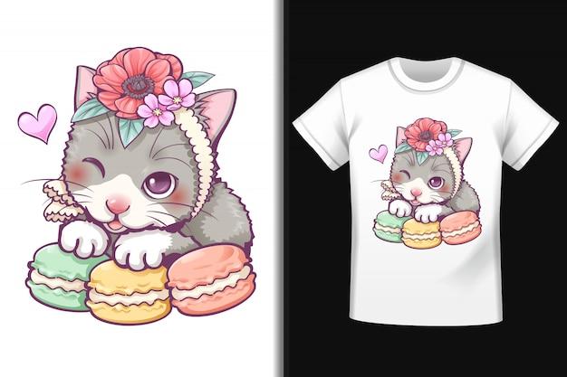 T-shirt con disegno macaron gatto dolce