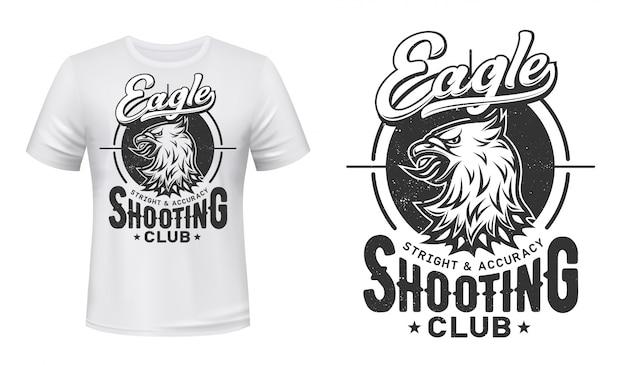 T-shirt con stampa aquila, club sportivo di tiro