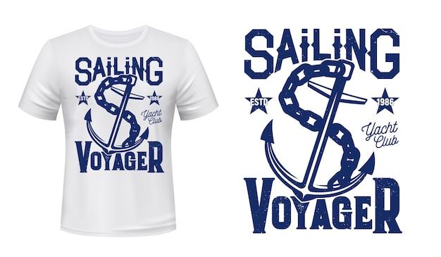 T-shirt con stampa di ancoraggio, vela e yacht