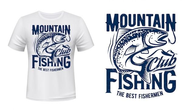 T-shirt con stampa di pesce trota e salmone, mazza da pesca