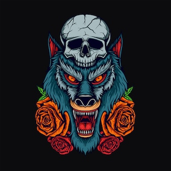 T-shirt con testa di lupo