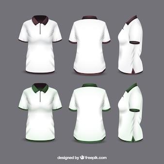 T-shirt da donna in diversi punti di vista con uno stile realistico