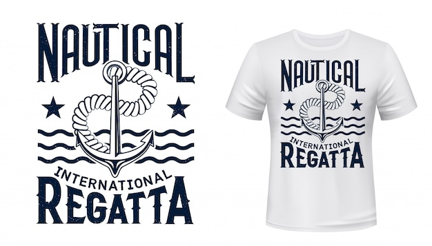 T-shirt da regata yachting stampata con ancora