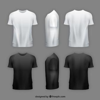 T-shirt da uomo in diversi punti di vista con uno stile realistico