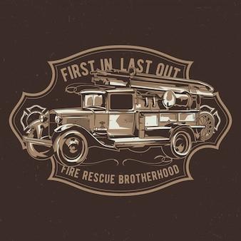 T-shirt design etichetta con illustrazione del camion dei pompieri vintage.