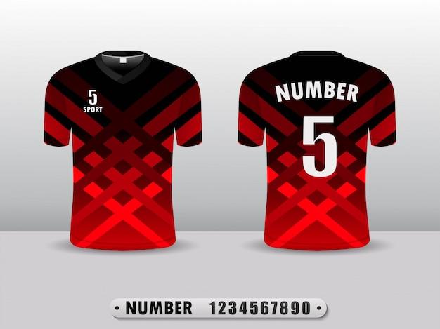 T-shirt di design della maglia da calcio sportiva colore nero e rosso.