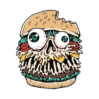 T-shirt di hamburger food monster illustration