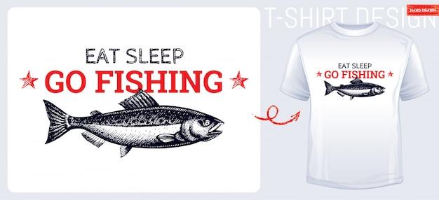 T-shirt di pesce salmone stampa design stile schizzo disegnato a mano. pesce inciso vintage.