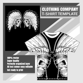 T-shirt disegno teschio nativo b & w a mano