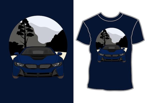 T-shirt estiva, moderna vettura sportiva in vacanza in montagna