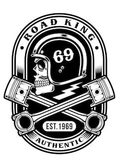T-shirt grafica teschio biker con pistoni incrociati