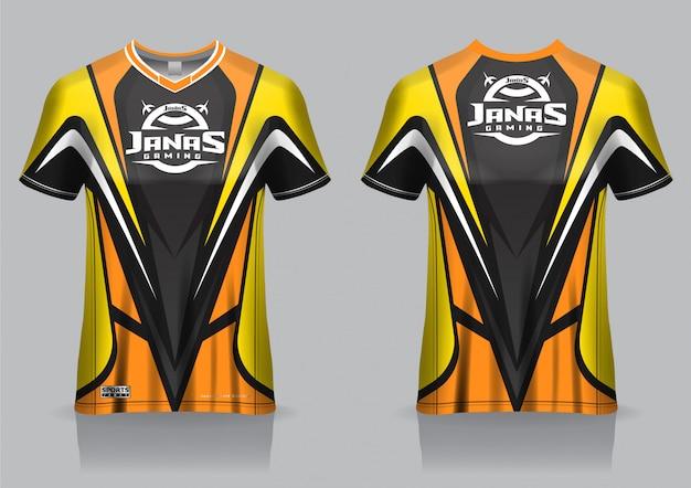 T-shirt modello da gioco esport in jersey, uniforme, vista frontale e posteriore