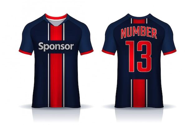 T-shirt modello di design sportivo, maglia da calcio per la squadra di calcio. vista frontale e posteriore uniforme.
