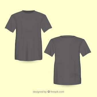 T-shirt nera anteriore e posteriore