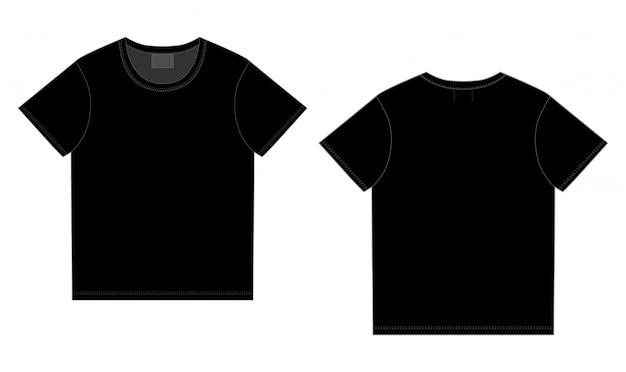 T-shirt nera. vettore anteriore e posteriore. maglietta tecnica da schizzo unisex
