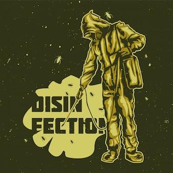T-shirt o poster design con illustrazione degli uomini di disinfezione