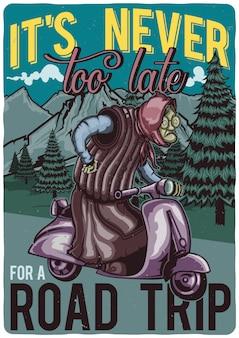 T-shirt o poster design con illustrazione della nonna sullo scooter.