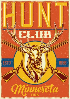 T-shirt o poster design con illustrazione di due fucili e testa di cervo