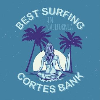 T-shirt o poster design con illustrazione di ragazza con tavola da surf